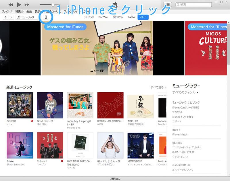 iTunes ページ、iPhone アイコンをクリック