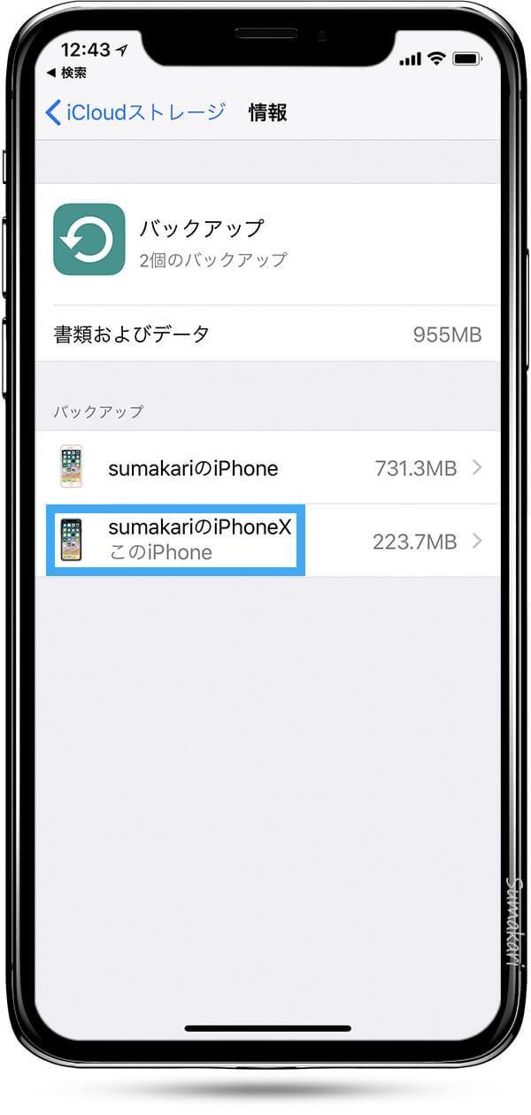 情報ページ Sumakari の iPhoneX をタップ