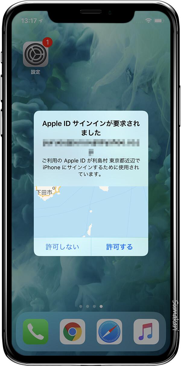 Apple ID サインインが要求されました