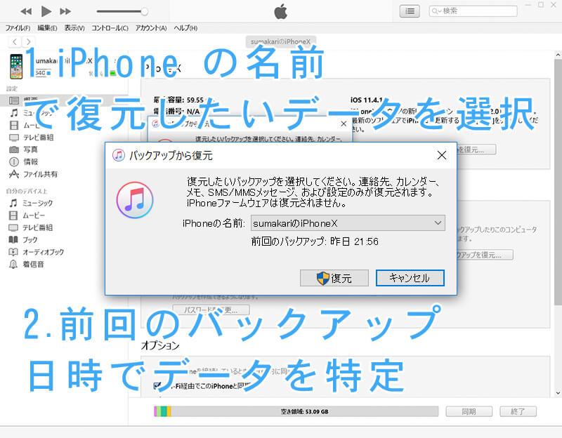 iTunes メッセージ、バックアップするデータを選択