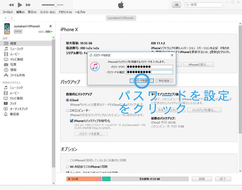 iTunes 続いて 概要項目 続いて iPhone ページ内、iPhone のバックアップを暗号化のパスワードを設定